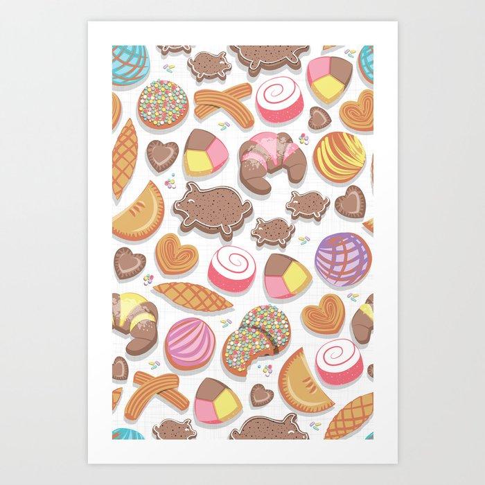 Mexican Sweet Bakery Frenzy // white background // pastel colors pan dulce Kunstdrucke