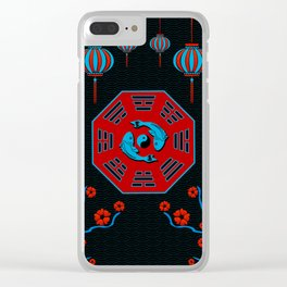 Pair of Koi Fish in Bagua with Yin Yang symbol Clear iPhone Case