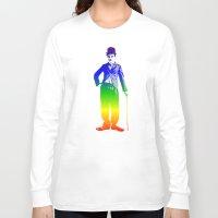 chaplin Long Sleeve T-shirts featuring Chaplin by PsychoBudgie
