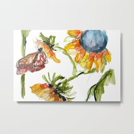 Butterfly on Sunflowers Metal Print