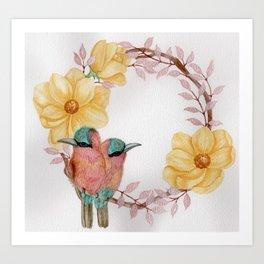 """Love Birds"" floral watercolor wreath Art Print"