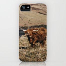 Scottish highland cattle vintage portrait landscap iPhone Case