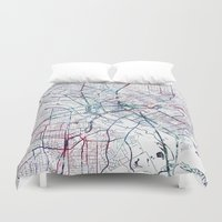 dallas Duvet Covers featuring Dallas map by MapMapMaps.Watercolors