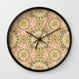 Pink Carousel Mandalas Wall Clock