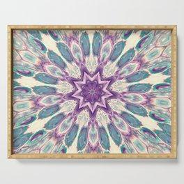Peacock Star Mandala Style Design - Fluid Nature Serving Tray