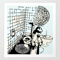 toilet Art Prints featuring TOILET CLEANING by Sofia Youshi