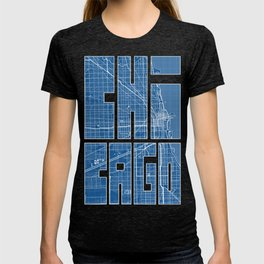 Chicago City Map of the United States - Blueprint T-shirt