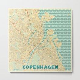 Copenhagen Map Retro Metal Print