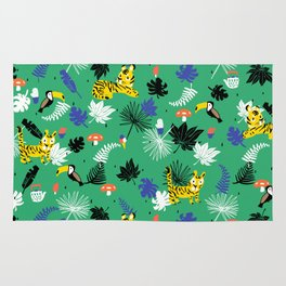 Tropical leaves, Rainforest tigers and toucans Rug