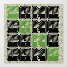 Camouflage Typography  Canvas Print
