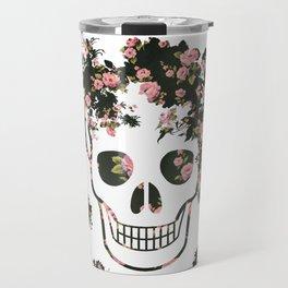 Flower Skull, Floral Skull, Pink Flowers on Human Skull Travel Mug