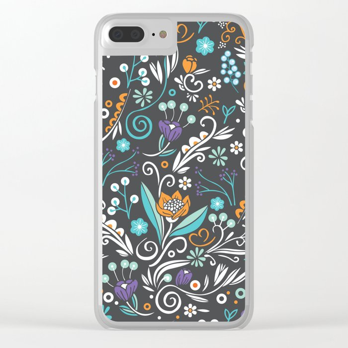 Flower circle pattern, brown Clear iPhone Case