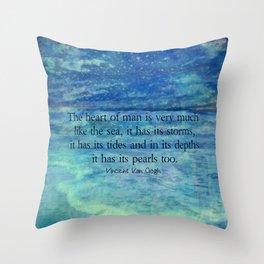 Inspirational ocean sea quote Throw Pillow