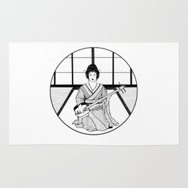Shamisen and Geisha Rug