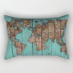 Wood Map Rectangular Pillow