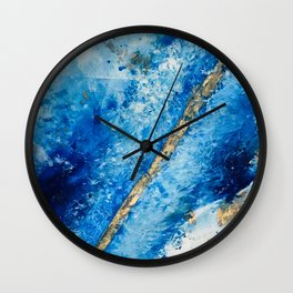 Blue Skies [2]: a pretty, abstract mixed-media piece in blue, gold and white Wall Clock