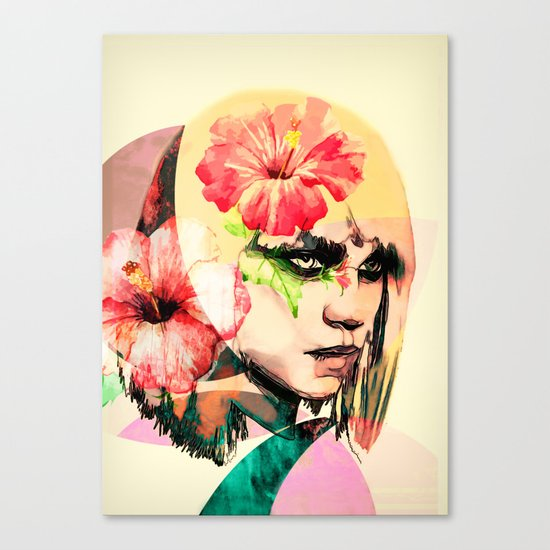 WOMAN WITH FLOWERS 4 Canvas Print