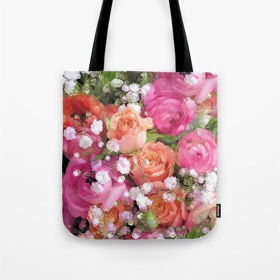Baby's Breath and Candy Roses Tote Bag