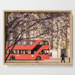 London Travel Spring Photography, Pink Flowers in Bloom and Red Double Decker Bus Serving Tray