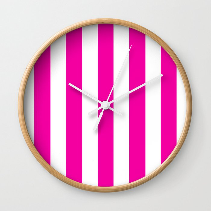 Hollywood Cerise Pink Solid Color White Vertical Lines Pattern Wall Clock By Makeitcolorful Society6