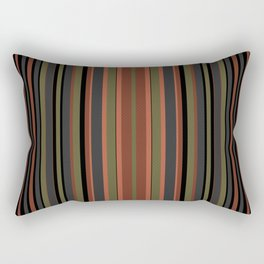 Multi-colored striped pattern in green , black and brown tones . Rectangular Pillow