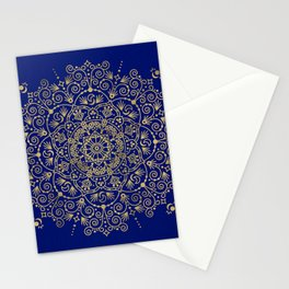 Moroccan Mandala – Gold Ink on Navy Stationery Cards