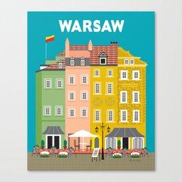 Warsaw, Poland - Skyline Illustration by Loose Petals Canvas Print
