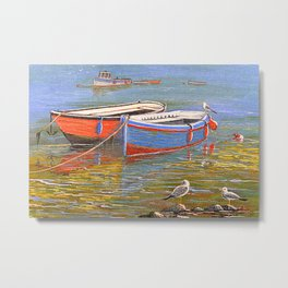 Blue And Orange Boats At The Harbor Metal Print