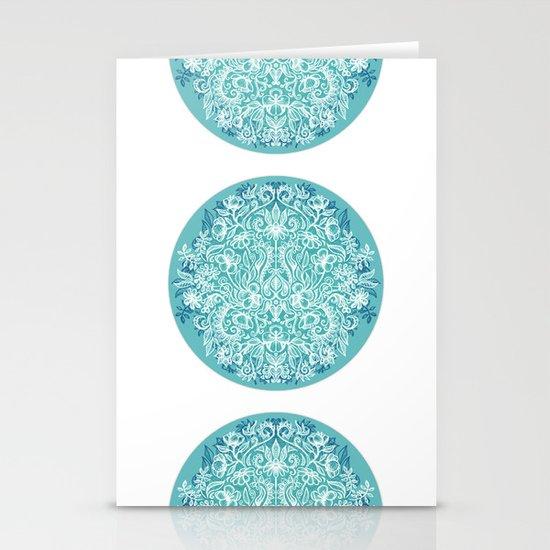 Spring Arrangement - teal & white floral doodle Stationery Cards
