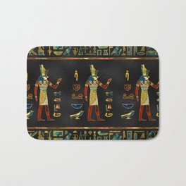 Egyptian  Gold, Teal and Red  glass pattern Bath Mat