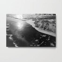 Beach Waves Black and White Landscape Print - Framed Art Canvas - Sunset Ocean Beach Travel Photography View: All Metal Print