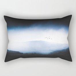 Misty Mountains Low Cloudy Sky Birds Landscape Rectangular Pillow