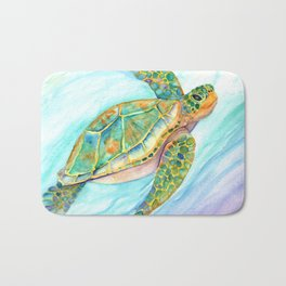 Swimming, Smiling Sea Turtle Bath Mat