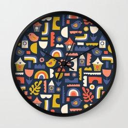 Kids Birds And Rainbows Scandinavian Design Wall Clock