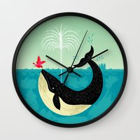 wesley bird Wall Clocks featuring The Bird and The Whale by Oliver Lake