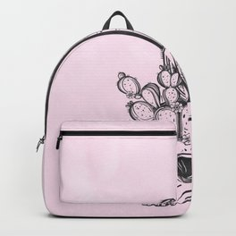 Cactus Skull Black on Pink Backpack