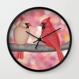 cardinals and sun-kissed bokeh Wall Clock