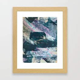 Karma [2]: a vibrant, abstract mixed-media piece in pink, peach, white and teal Framed Art Print