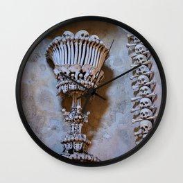 Sedlec Ossuary Chalice Photo Art, Skull Bone Church Wall Clock