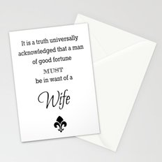 It is a truth universally acknowledged that a man of good fortune must me in want of a wife  Stationery Cards