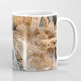 Autumn Tracks // Backpacking the Railroad Fall Tree Landscape with Black Dog Coffee Mug