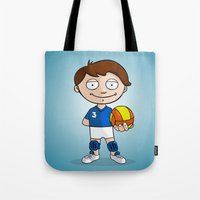 volleyball Tote Bags featuring Volleyball player by Jordygraph