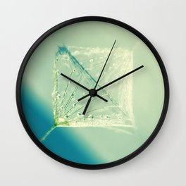 Drops of water in a dandelion screen Wall Clock