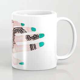 Modern watercolor hand  floral henna tattoo turquoise nails Coffee Mug