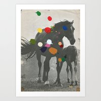 pony Art Prints featuring PONY by Beth Hoeckel