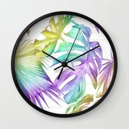 Tropical Rainbow Palm Leaves on Wood Wall Clock