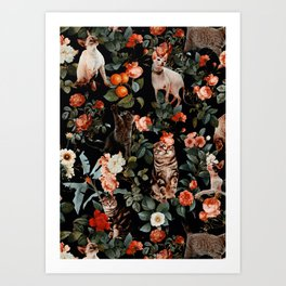Cat and Floral Pattern II Art Print