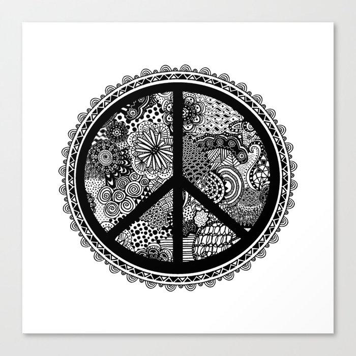 Zen Doodle Peace Symbol Black And White Canvas Print By