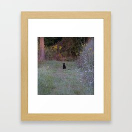 Autumn Black Cat Yellow Eyes Framed Art Print