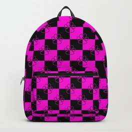 Hot Pink and Black Checker Dog Paws Backpack